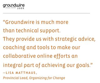 Groundwire Lisa Matthaus quote 2009
