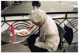 David Suzuki eating his crepe