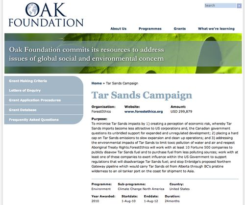 Oak Forest Ethics Tar Sands Fortune 500 $299,879