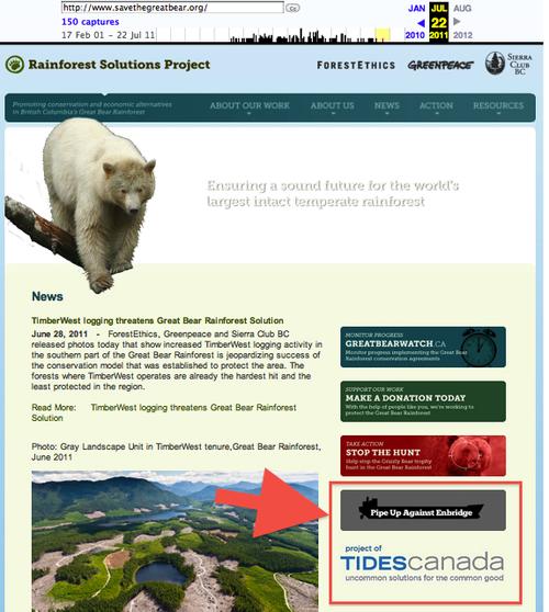 TCF Rainforest Solutions Pipe Up Against Enbridge