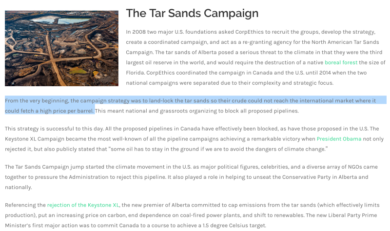 Tar Sands Campaign to %22land-lock%22 & lower price per barrel